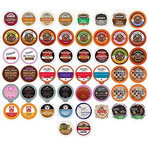 Perfect Samplers Coffee, Tea, Cider, Cappuccino & Hot Chocolate Single Serve Cups for Keurig K Cup Brewers Variety Pack Sampler, 50Count