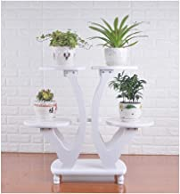 CHENTAOCS WalledKing Flower Plant Stand - Heart-shaped Four trays Living Room Pots Holder Wooden Display Shelf Indoor Flower Pot Decor. (Color : White)