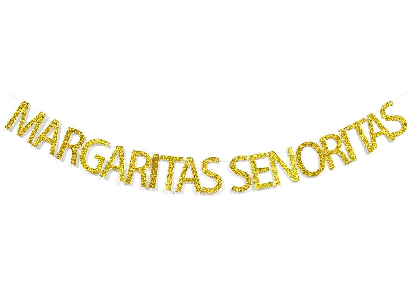 Margaritas Senoritas Gold Glitter Banner, Mexican Fiesta Party Supplies