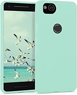 kwmobile TPU Silicone Case for Google Pixel 2 - Soft Flexible Shock Absorbent Protective Phone Cover - Mint Matte