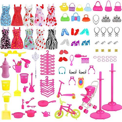WENTS Accessori per Barbie 114 PCS Accessories Bambole Abbigliamento Accessori per Barbie Come della Ragazza Compleanno Regalo