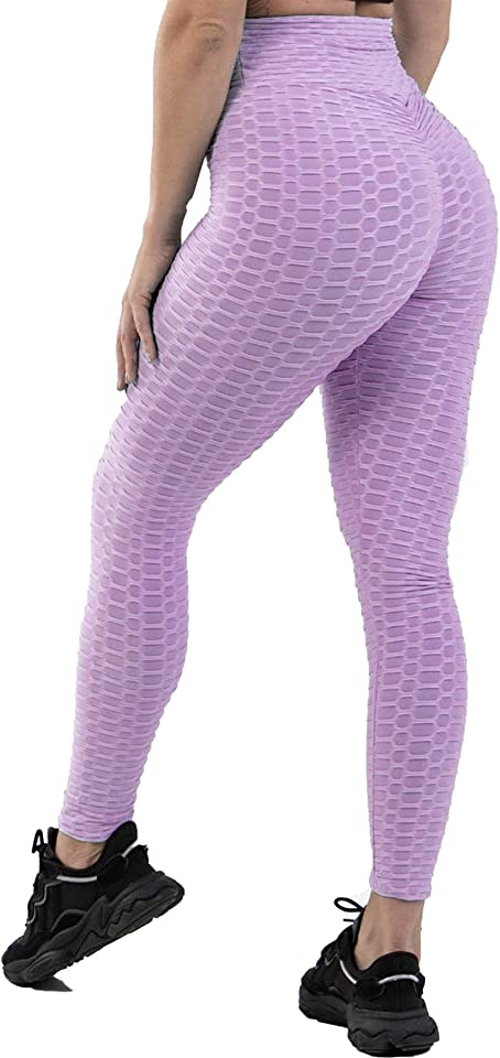 Womens Honeycomb High Waist Gym Leggings Ladies Slim Fit Scrunch Butt Lift Wrokout Yoga Pants