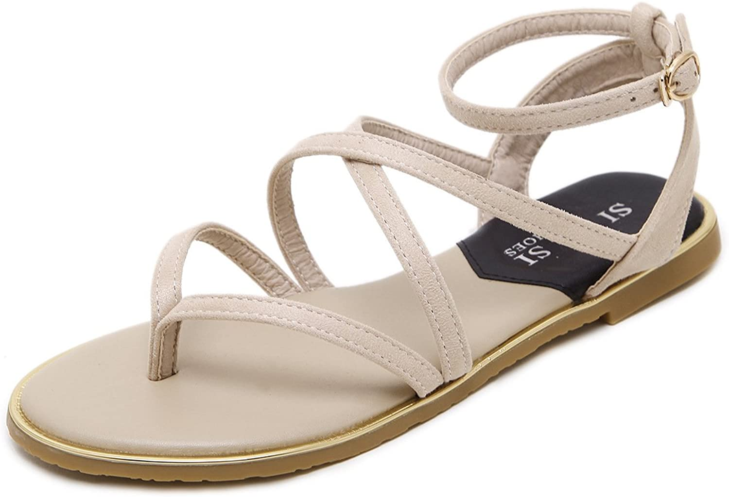 Mubeuo Women's Leather Ankle Strap Summer Flat Sandals Sandles