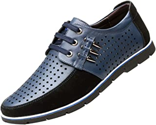 GYUANLAI Men's leather shoes Casual Round toe Hollow-Out Breathable Lace-up Leather Dress Shoes Business Oxfords leather shoes