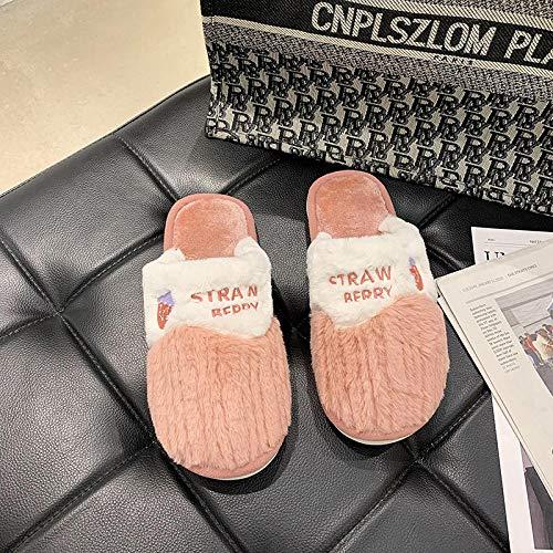 Nwarmsouth Zapatos de casa con Interior,Lindas Pantuflas de Suela Gruesa, Zapatos de Felpa cálida de algodón-Red_30-31,Interior Casa Caliente Pantuflas