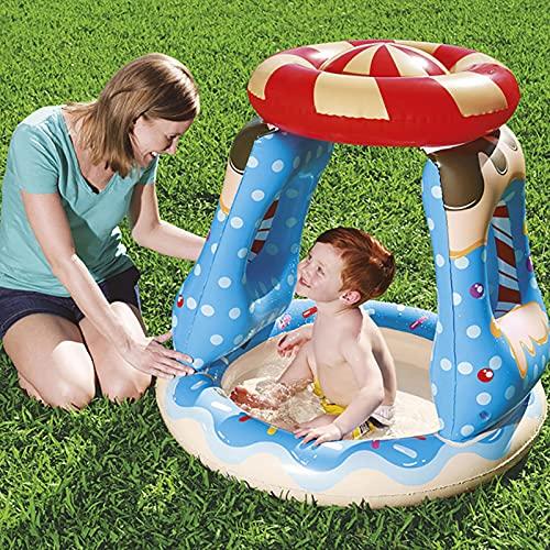 LGLE Piscina infantil inflable con sombrilla, pequeñas piscinas para jardines patio trasero al aire libre, 91 x 91 x 89 cm,