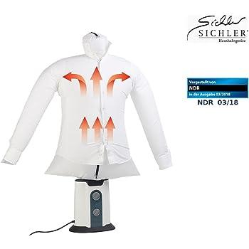 Sichler Haushaltsgeräte Hemdbügler: 2in1-Bügelpuppe, Warmluft-Gebläse und Kleiderständer, Timer, 850 Watt (Bügelpuppen mit Heizgebläse)