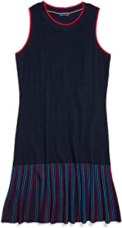 Tommy Hilfiger womens Adaptive Sleevless Striped Dress With Wide Neck Opening Casual Dress