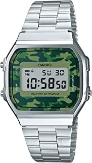 Casio A168WEC-3 Silver with Green Camouflage Face Retro Stainless Steel Digital Watch