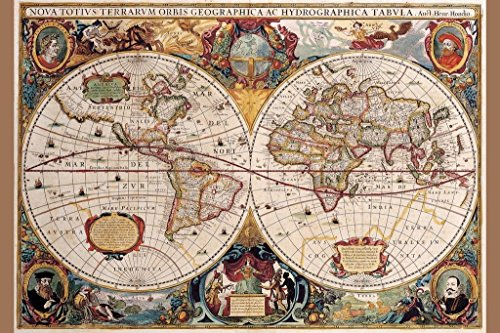 World Map Poster 17th Century Antique Vintage Historic Educational Classroom Globe Projection Cool Wall Decor Art Print Poster 24x36