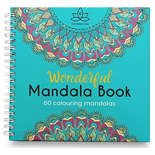 Libro Mandalas Para Colorear Adultos, 60 Dibujos Originales Mandalas Animales, Flor y Naturaleza Antiestres. Papel muy Grueso Blanco Calidad Premium, Sin Manchas, Tamaño 21x21 Encuardernacion Espiral