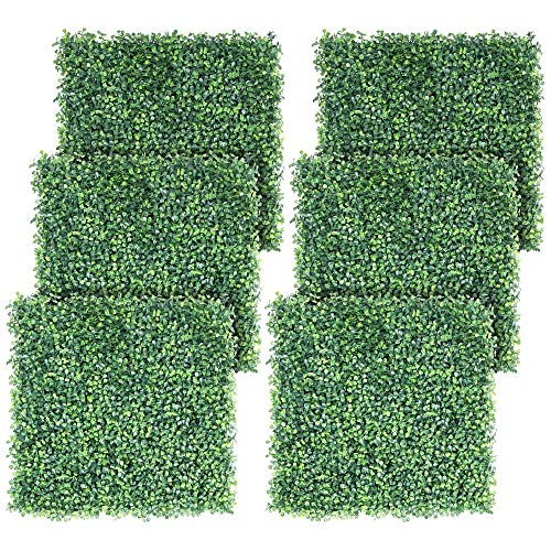 Yaheetech 6PCS 50x50x3.6cm Artificial Expandable Boxwood Plastic Hedging Panels as Topiary Home Decoration Indoor Outdoor/Privacy Protective Screening Green Leaf Fence for Garden, Patio, Yard, Balcony