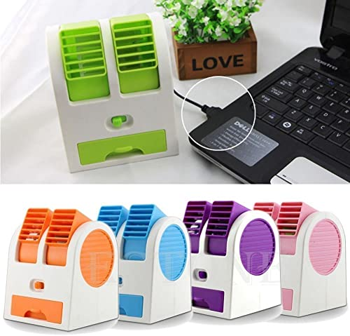 Misaki Hitech Portable Small Plastic Ice Evaporated Air Conditioner Fan Mini Water Cooler Mini Fan Use in Car Home Office Kitchen Powered by USB cable Included 3x AA Battry Not included in package Random Color Size 14x12x12CM