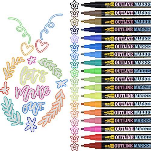 18 Farben Magische Stifte Double Line Pen Outline Stift, Magic Pens Wasserfest Glitzer Zweizeiliger Stifte Schnelltrocknend Permanent Marker für Malen, Steine, Geschenkkarte, DIY Fotoalbum, Scrapbook