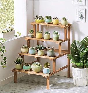FJFSC 4 Tier Ladder Flower Racks Wooden Shelf Corner Shelves Garden Plant Display for Plant Pots Holder Garden Storage She...