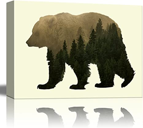 Amazon Com Wall26 Double Exposure Graphic Of A Grizzly Bear And The Woods Canvas Art Home Art 24x36 Inches Posters Prints