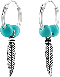Best Wing Jewelry .925 Sterling Silver Synthetic-Turquoise Blue Bead/w Feather 12mm Endless Hoop Earrings