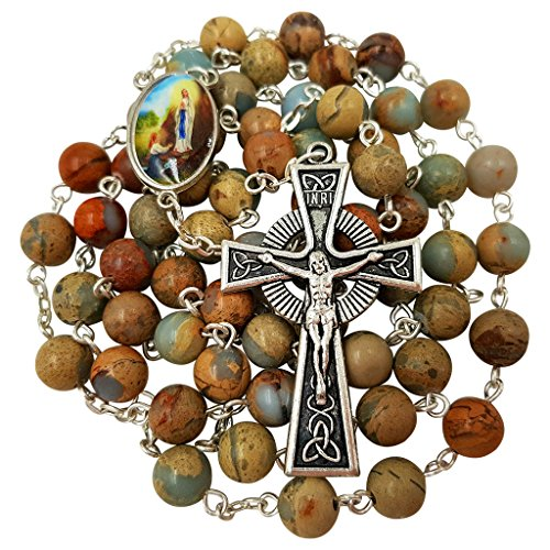 Natural Stone Beads CATHOLIC ROSARY NECKLACE Celtic Cross Our Lady of Guadalupe Gift Box