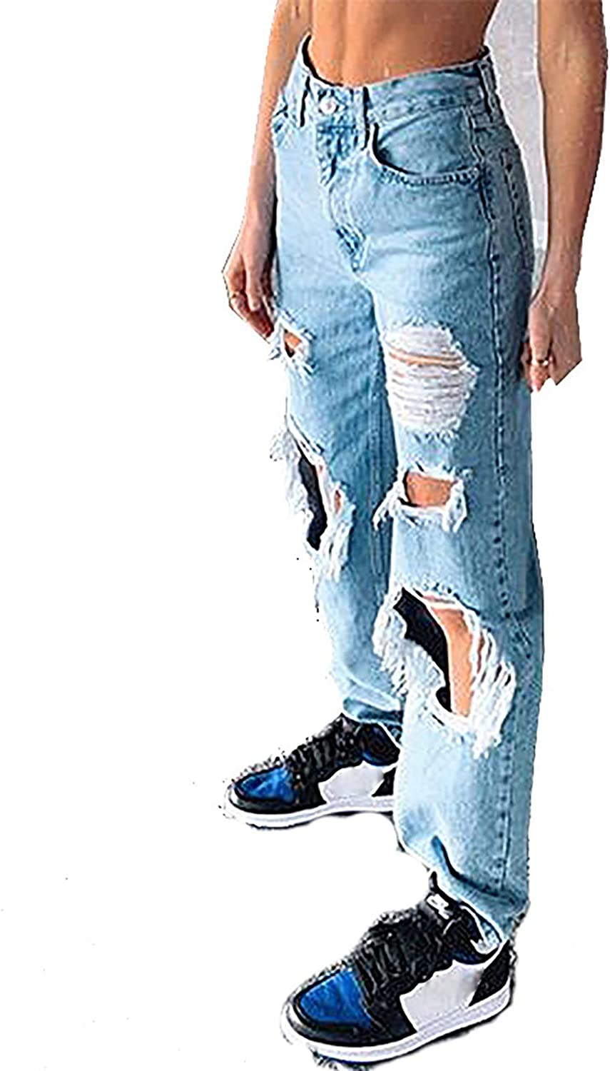 xoxing Women High Waist Jeans Pocket Solid Color Trousers Loose Denim Hole High Straight Pants(B)
