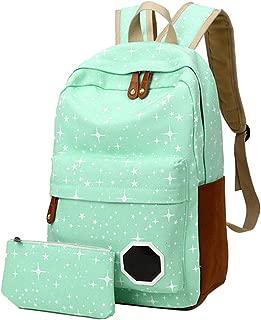 School Bag Rucksack Canvas Stars Printing Backpack for Teenage Backpack,Green