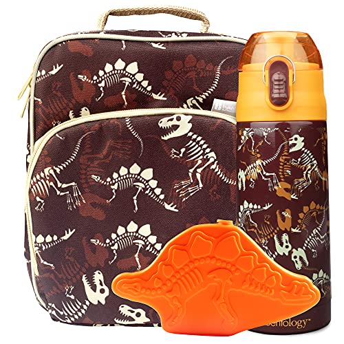 Bentology Lunch Box Set for Kids - Boys Insulated Lunchbox Tote, Water Bottle, and Ice Pack - 3 Pieces - Dinosaur