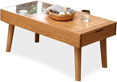 Side Table Wooden Japanese Style Coffee Table with 1 Drawer and Storage Box for Living Room, TV Table, Glass Rectangular Sofa Table, Solid Elegant Functional Table, Easy Assembly Sofa Table