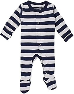 L'ovedbaby Unisex-Baby Organic Cotton Footed Overall (NB/Preemie (4-7 lbs.), Navy/Light Gray Stripe)