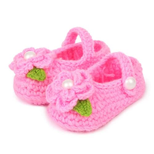 cec14cbc5d6a Koly Newborn Baby Girls Crib Crochet Handmade Knit Sock Infant Rose  Prewalker Shoes 0 -12