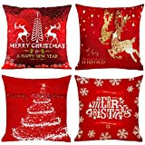 4 PCS Christmas Pillow Covers, 18 x18 inch Red Xmas Cushion Covers,Christmas Cotton Linen Square Pillow Covers Christmas Decorative Throw Pillow Covers Cushion Covers Pillowcases for Sofa,Bed,Couch