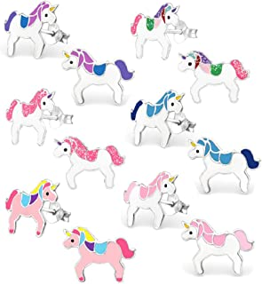 925 Sterling Silver Set of 6 Pairs Assorted Unicorn Stud Earrings for Girls (Nickel Free)