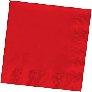 Creative Converting 200-Count Touch of Color Paper Beverage Napkins, Classic Red