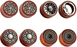 TBOSEN 8PCS Sun Moon Organic Wood Saddle Ear Plugs Tunnels Stretching Punk Piercings Expanders Set
