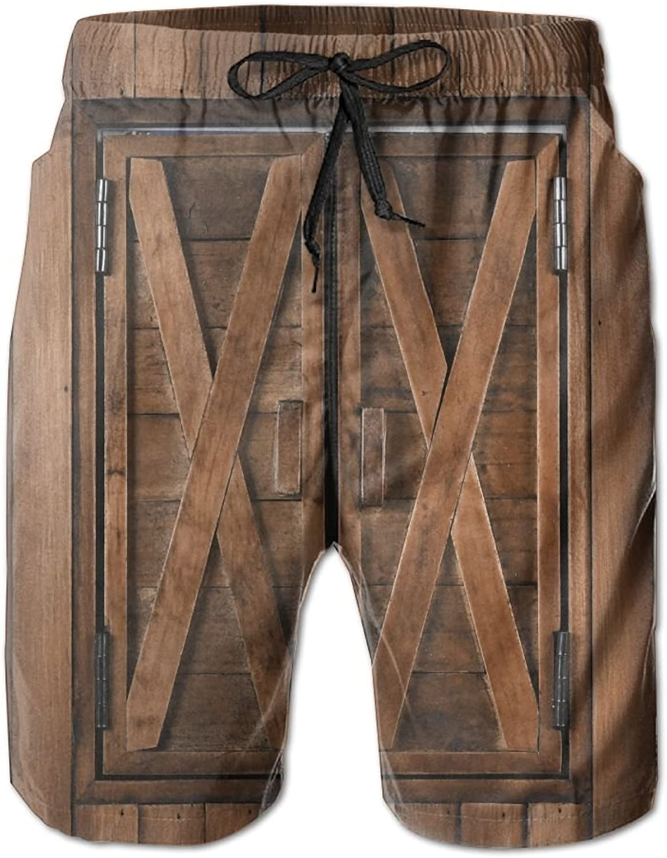 87cb7ad412547 Mens Beach Shorts Retro Wood Wood Wood Window Swim Trunks Board ...