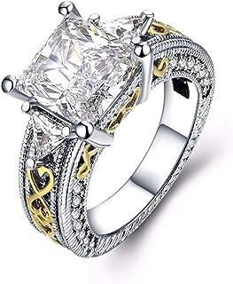 خاتم فخم مطلي بالذهب الابيض للخطوبة والزفاف، مع ماسة من الزركونيا المكعب