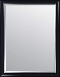 Everly Hart Collection 36x48 Black and Silver Scoop Framed Beveled Wall Mounted or Leaner Mirror, 36
