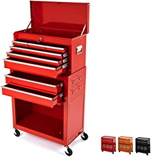 8 Drawer Rolling Tool Box,Large Capacity Tool Chest With 4 Wheels,Detachable Tool Storage Cabinet,Key Drawer,Sliding Metal Tool Organizer,Red