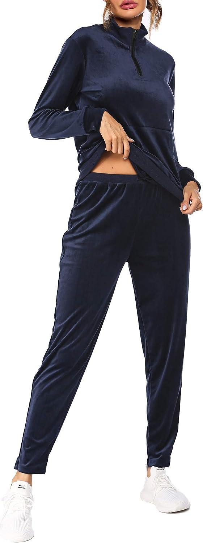 Balancora Jogginganzug Damen Sportanzug mit Reissverschluss Sportswear Zweiteiliger Lang Hose und Tops Weich Lounge Trainingsanzug Sets S-XXL