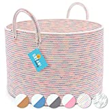 OrganiHaus Cotton Rope Large Basket for Blankets   Woven Basket for Nusery Decor   Nursery Storage Basket for Toys   Extra Large Laundry Basket   Rainbow Basket for Nursery Organization - 20'x13'