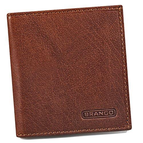 Kleine Geldklammer Geldbörse/Dollarclip Portemonnaie Größe S für Herren, aus Leder, Cognac-Braun, Branco 16795