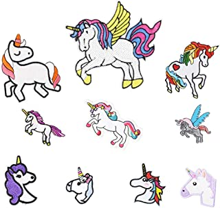 Cute Unicorn Embroidered Iron on Patches for Kids' Clothes Backpacks Craft DIY Accessory (10 Pcs/Pack)