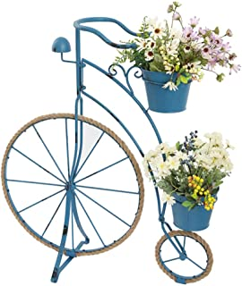 Plant Stand Flower Pot Holder Metal Plant Stand Baskets ,2-Wheel Bicycle Decoration Planter Retro Chic Garden Bike Flower Pot Gift - Hemp Rope and Wrought Iron