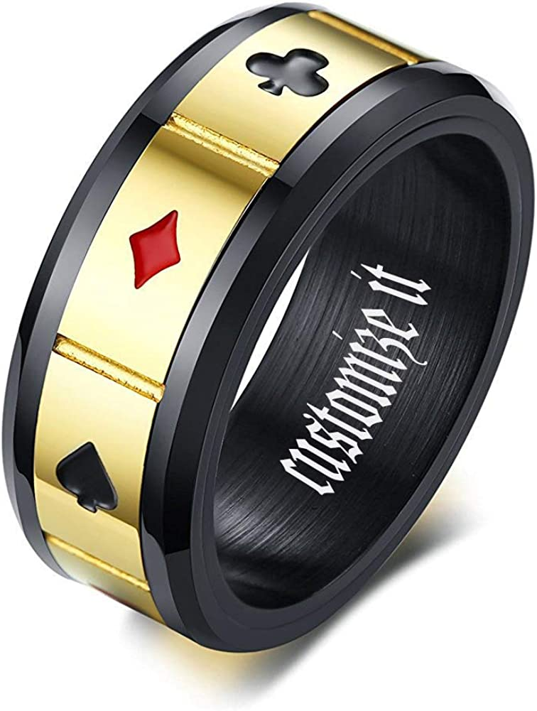 MPRAINBOW Unique Design Ring-Men's Band Rings Playing Card Poker Ring Wedding Rings Engagement Rings Promise Rings Rotating Ring