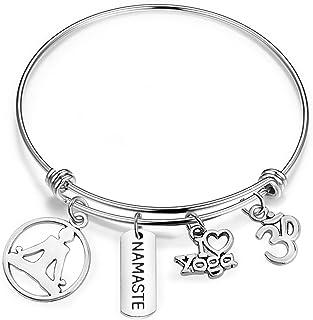 bobauna I love Yoga Namaste Expandable Wire Bangle bracelet Yoga Jewelry Meditation Gift