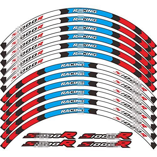 QOHFLD 12 Tiras de Motocicleta, neumático Exterior, Rueda, Cubo, Pegatina, Reflectante, Accesorios de Carreras de Motos, calcomanía de decoración de Llantas, para BMW S1000R s1000 r