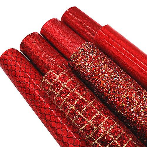 ZAIONE 7Pcs/Set 8' x 12'(20cm x 30cm) A4 Bundle Leather Sheets Mixed Red Series Holographic Sparkle...