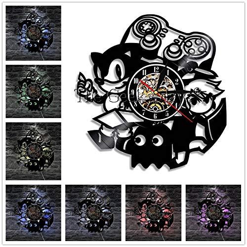 WERWN - Reloj de pared con diseño de personajes y decoración vintage de vinilo, reloj de pared 3D