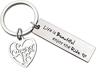Sweet 16 Keychain Life is Beautiful Enjoy The Ride Sweet 16 Birthday Gifts New Driver Key Chain Gift for Daughter Niece