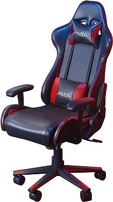ゲーミングチェア オフィスチェア リクライニング ゲーム用チェア 多機能 ヘッドレスト ランバーサポート ひじ掛け付き 高さ調整機能(Red)