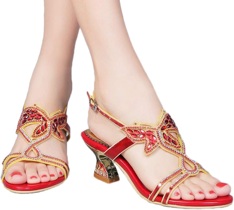 Jiandick Womens Butterfly Shape Slide Low Evening Prom Dress Chunky Heeled Sandals