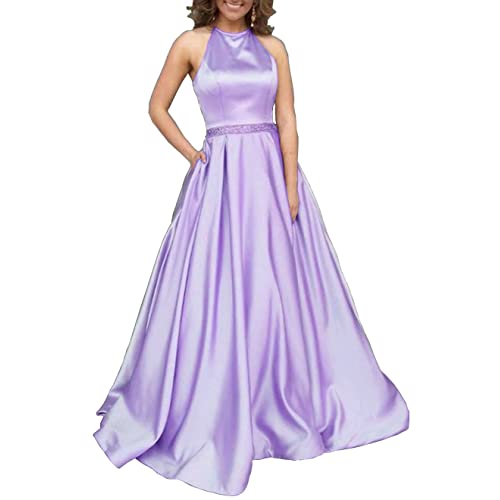 dd0f2c60448 Women s Halter A-line Beaded Satin Evening Prom Dress Long Formal Gown with  Pockets